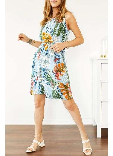 XHAN Multi Çiçek Desenli Kolsuz Elbise 0Yxk6-43853-13 Renkli